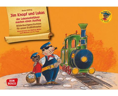 Bildkarten Jim Knopf und Lukas der Lokomotivfuehrer machen einen Ausfl