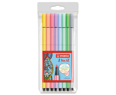 STABILO Pen 68 Pastellfarben - 8er-Etui-8