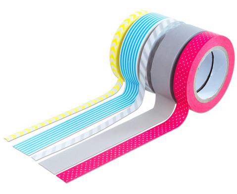 Washi Tape aus 5 Rollen - Neon gelb grau rot blau