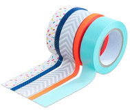 Washi Tape aus 5 Rollen - Konfetti, neon orange, grau, mint, blau,