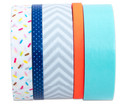 Washi Tape aus 5 Rollen - Konfetti neon orange grau mint blau-4