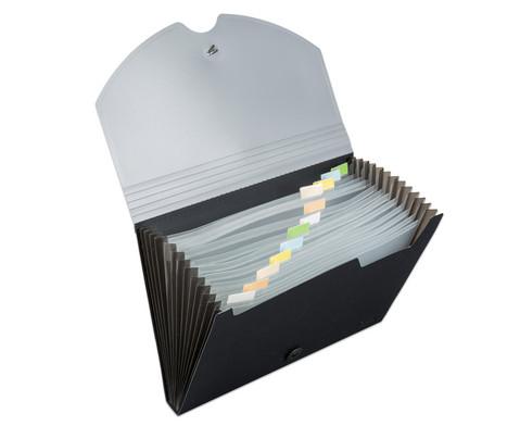 Faechermappe A4 mit 12 Faechern - grau-schwarz