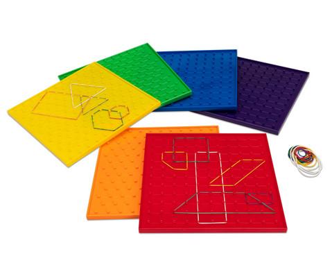 Betzold Satz mit 6 Geometriebrettern in Regenbogenfarben