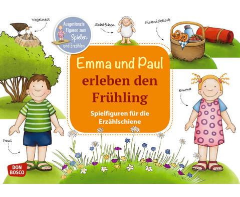 Emma und Paul erleben den Fruehling Spielfiguren fuer die Erzaehlschiene