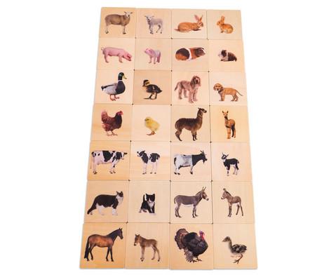 Haustiere Memo aus Holz