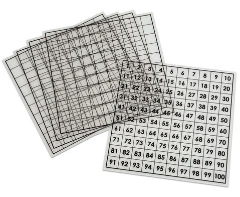 Hundertertafeln 5 Stueck transparent