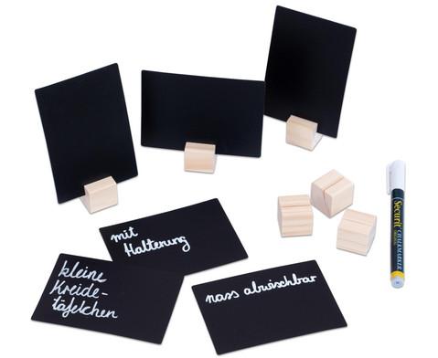 Kreidetaefelchen mit Holzwuefel-Halterung 6er-Set inkl Kreidemarker