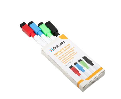 Betzold Folienstifte-Set mit Loeschfilz und Magnet 4 Stueck in 4 Farben