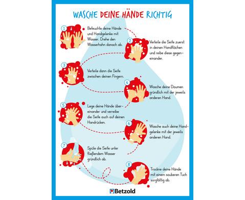 Betzold Plakat Anleitung zum Haendewaschen DIN A2 5 Stueck