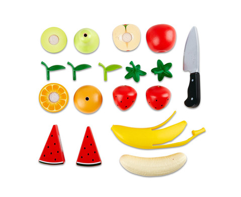 Obst-Set aus Holz 9-tlg