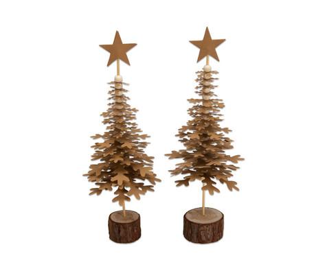 Weihnachtsbaeume aus Schneeflocken 2 Stueck