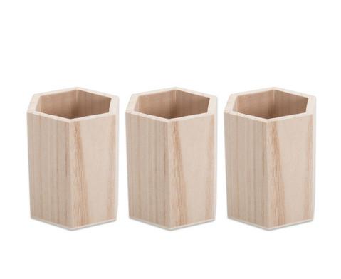 Stifthalter aus Holz Set mit 3 Stueck