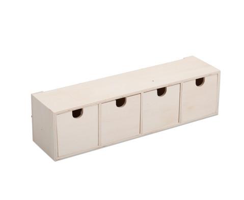 Schubladenbox aus Holz 4 Faecher