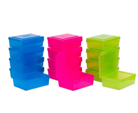 Aufbewahrungsbox 14 l 5er-Set transparent farbig