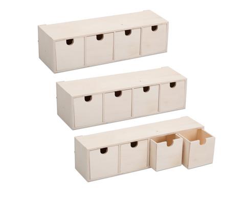 Schubladenbox aus Holz mit 4 Faechern 3er-Set