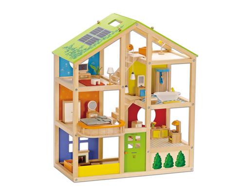 Vier-Jahreszeiten-Puppenhaus moebliert 36-teilig