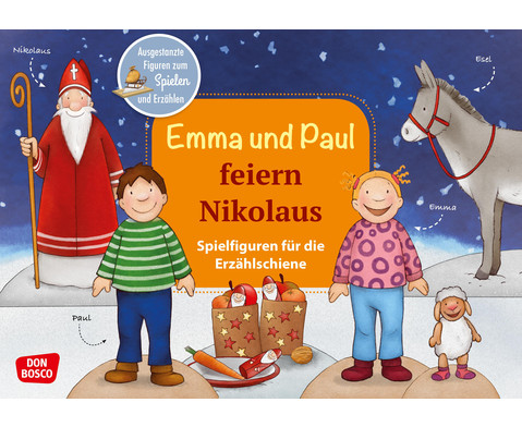 Emma und Paul feiern Nikolaus Spielfiguren fuer die Erzaehlschiene