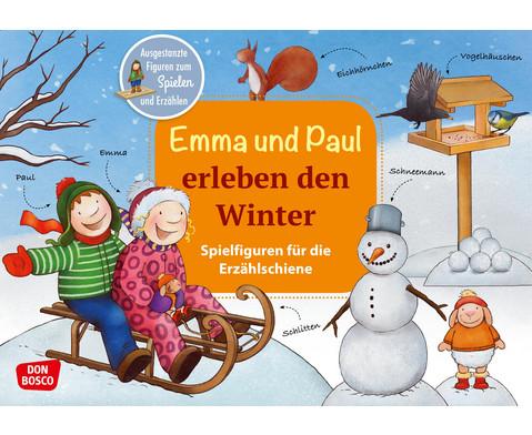 Emma und Paul erleben den Winter Spielfiguren fuer die Erzaehlschiene