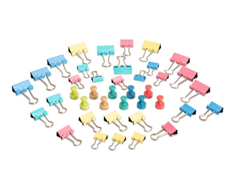 MAUL Magnete und Klammern Pastell Set 40-teilig