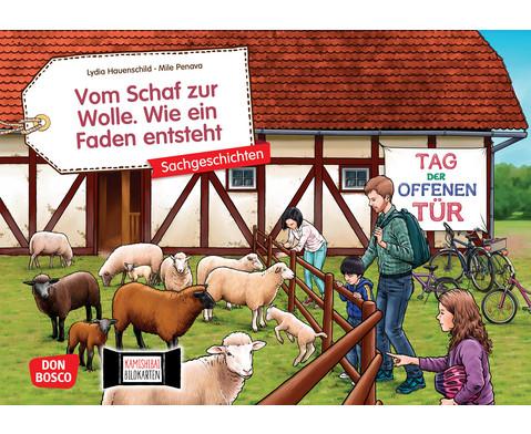 Vom Schaf zur Wolle Wie ein Faden entsteht Kamishibai-Bildkartenset