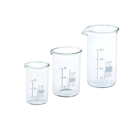 Hecht Assistent Becherglas 100 ml 3er-Set mit Ausguss und Graduierung