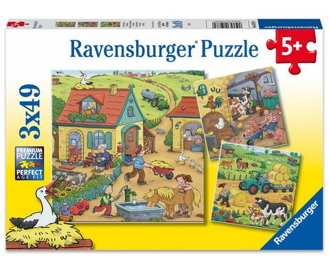 Ravensburger Puzzle Viel los auf dem Bauernhof 3er-Set 3 x 49 Teile