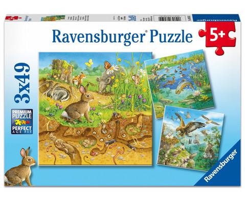 Ravensburger Puzzle Tiere in ihren Lebensraeumen 3x49 Teile