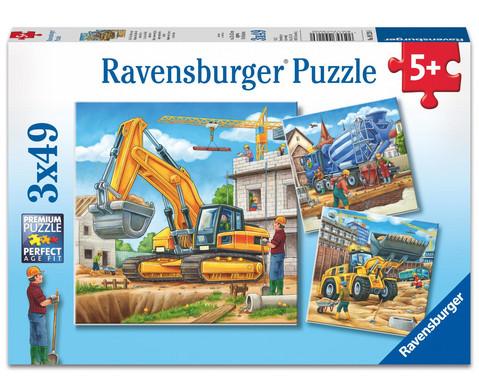 Ravensburger Puzzle Grosse Baufahrzeuge 3er-Set 3 x 49 Teile