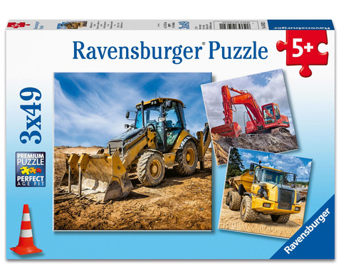 Ravensburger Puzzle Baufahrzeuge im Einsatz 3er-Set 3 x 49 Teile