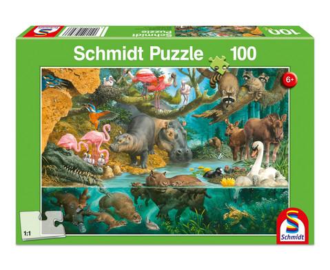 Puzzle Tierfamilien am Ufer 100 Teile