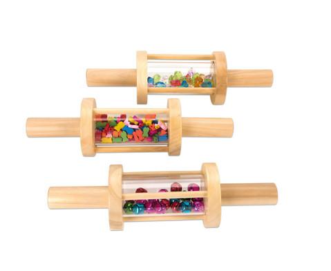 Befuellter Zylinder aus Holz 3 Stueck