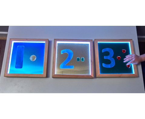 Leuchtende Spiegel viereckig 3 Stueck