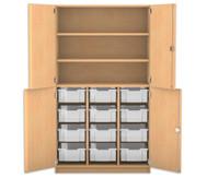 Flexeo Halbtürenschrank mit 12 großen Boxen, oben 2 Fachböden, 4 Türen, HxB: 190 x 108,1 cm