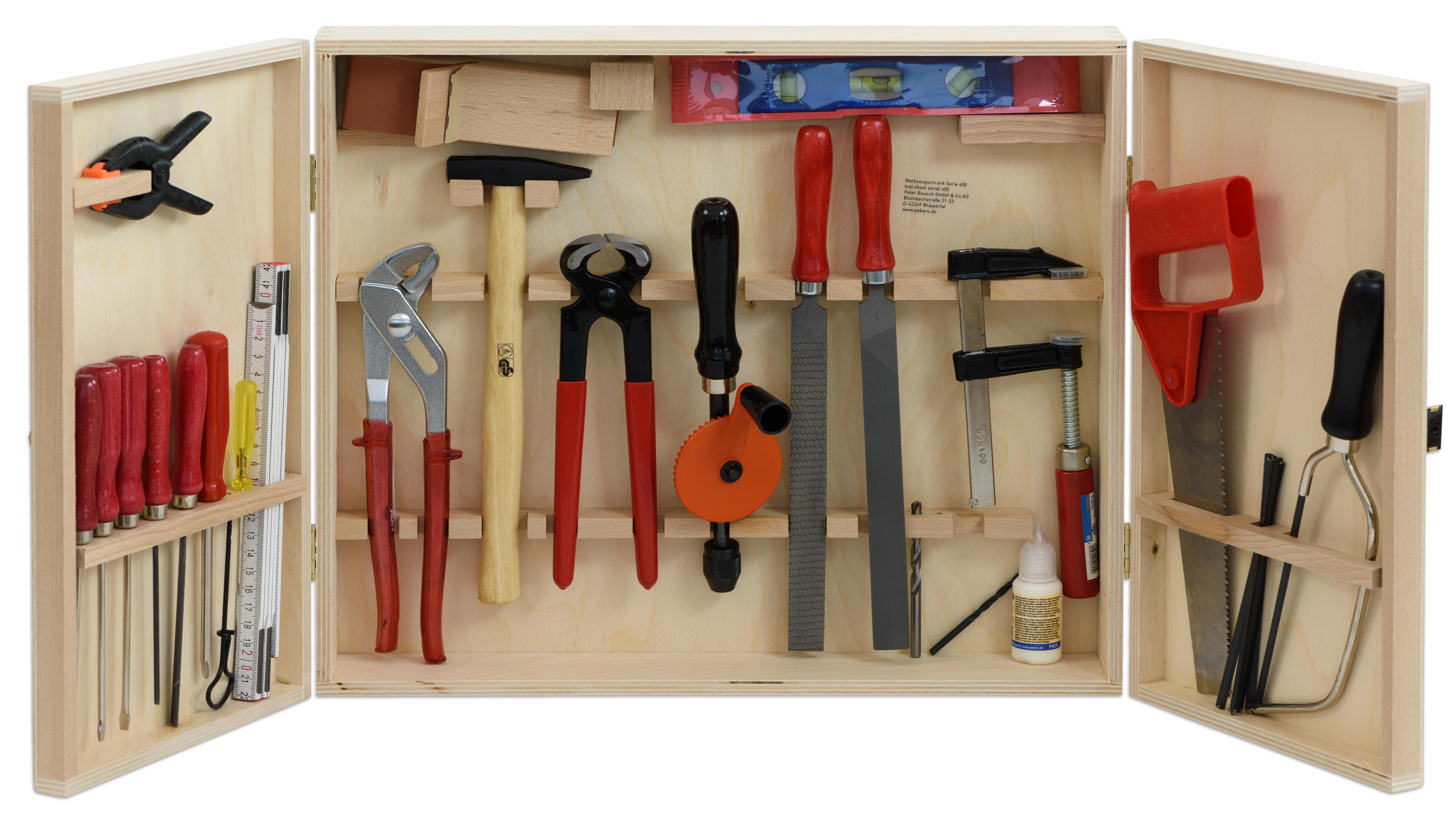 werkzeugschrank holzschrank mit werkzeug f r kinder basteln ebay. Black Bedroom Furniture Sets. Home Design Ideas