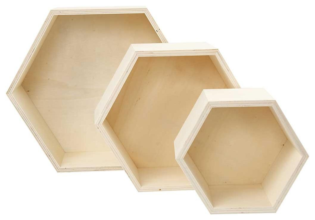 Holzbox Wabe, 3er Set Blanko Material Bastelmaterial aus Holz ...
